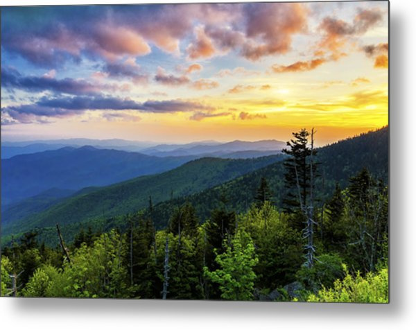 Sunset From Clingmans Dome Metal Print