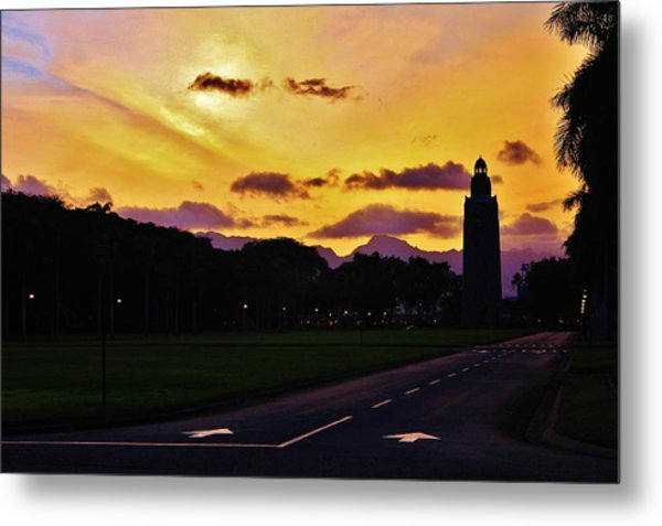 Sunset Hickam Air Force Base Freedom Tower Metal Print