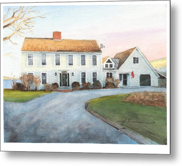 Sunset House Watercolor Portrait Metal Print by Mike Theuer