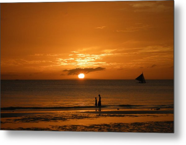 Sunset In Boracay Metal Print