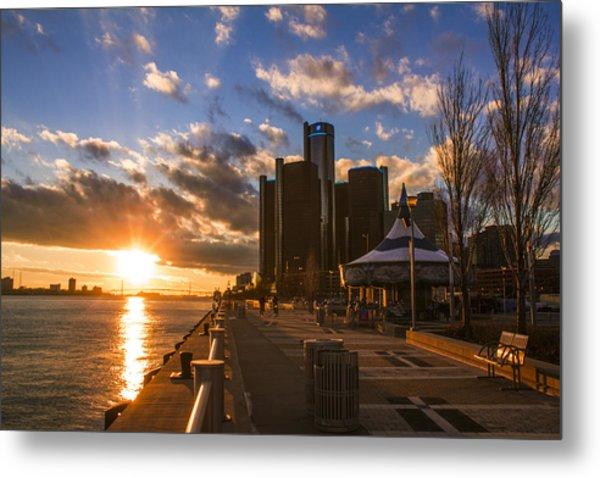 Sunset In Detroit  Metal Print
