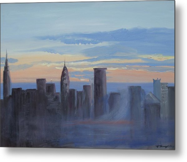 Sunset In New York Metal Print by Patricia Kimsey Bollinger