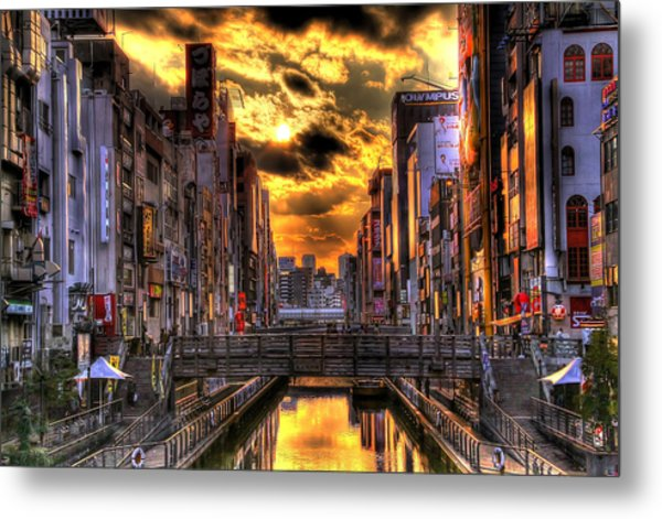 Sunset In Osaka Metal Print by SEOS Photography