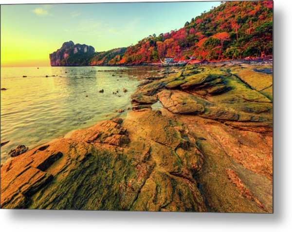 Sunset In Phi-phi Don Island, Thailand Metal Print by Moreiso