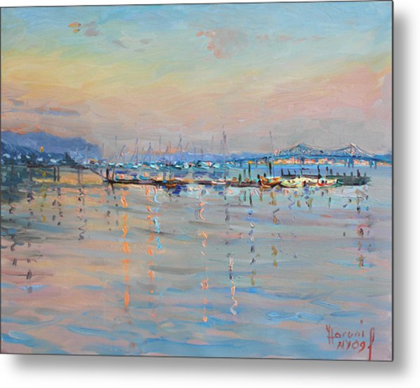 Sunset In Piermont Harbor Ny Metal Print