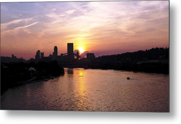 Sunset In Pittsburgh Metal Print