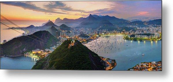 Sunset In Rio De Janeiro Metal Print by Anna Gibiskys