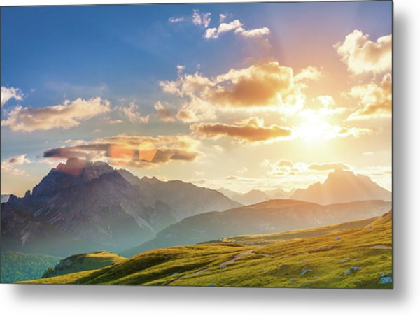 Sunset In The Mountains Metal Print by Peter Zelei Images