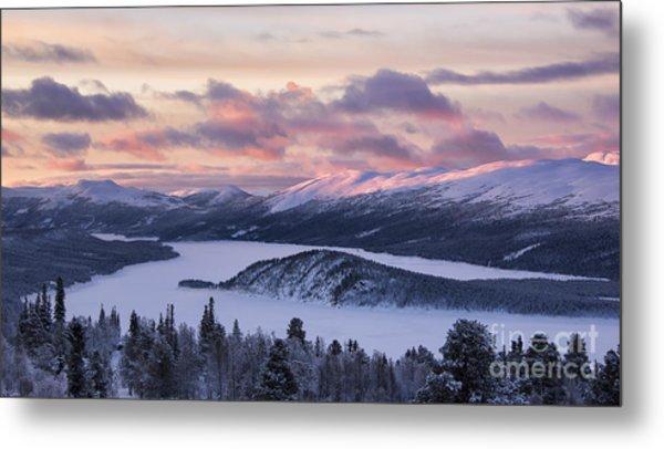 Sunset In Winter Mountains Metal Print