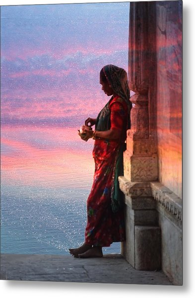 Sunset Lake Colorful Woman Rajasthani Udaipur India Metal Print