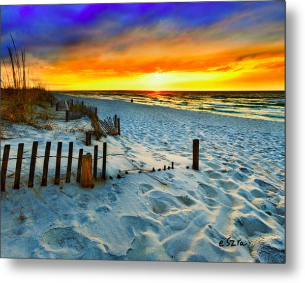 Sunset Landscape-red Beach Sunset Metal Print