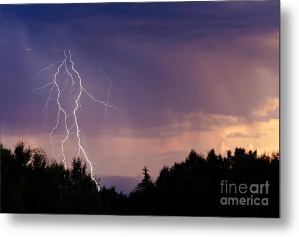 Sunset Lightning Metal Print