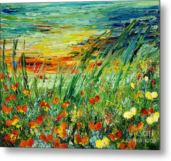 Sunset Meadow Series Metal Print