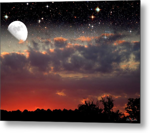 Sunset Moonrise Metal Print