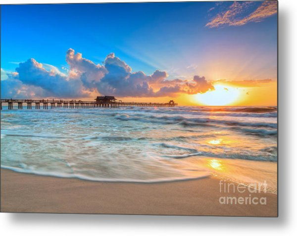 Sunset Naples Pier Metal Print