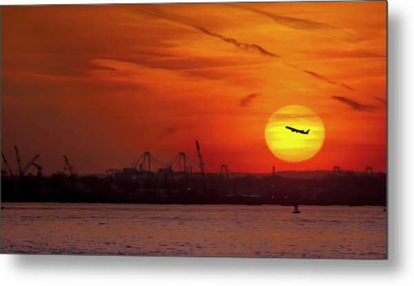 Sunset: New York Harbor Metal Print