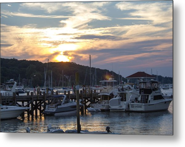 Sunset Northport Dock Metal Print