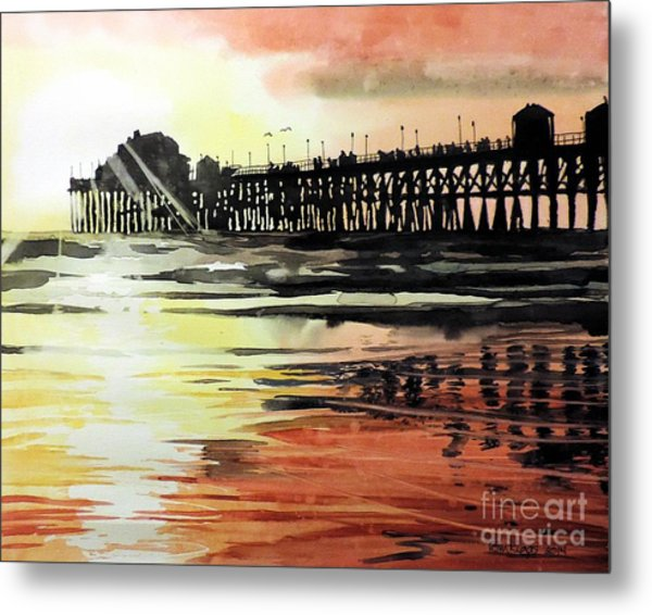 Sunset Oceanside Pier Metal Print