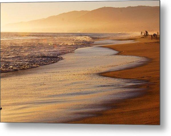 Sunset On A Beach Metal Print