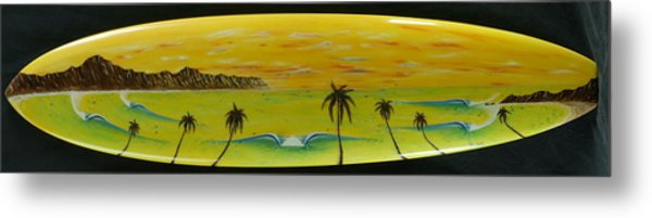Sunset On A Surfboard Metal Print