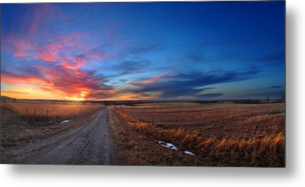 Sunset On Aa Road Metal Print by Rod Seel