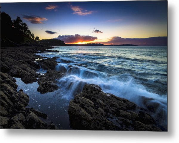 Sunset On Ber Beach Galicia Spain Metal Print
