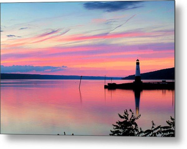 Sunset On Cayuga Lake Ithaca New York Metal Print