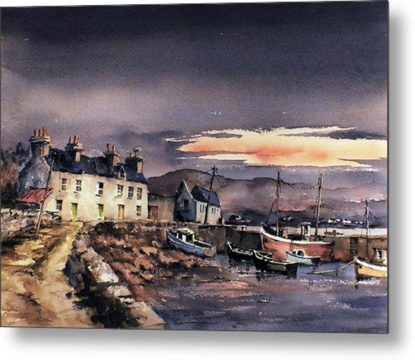 Sunset On Coraun Harbour Mayo Metal Print