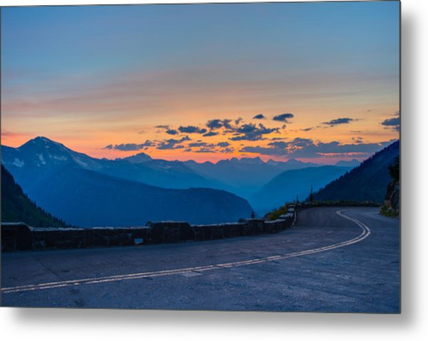 Sunset On Going-to-the-sun Road Metal Print