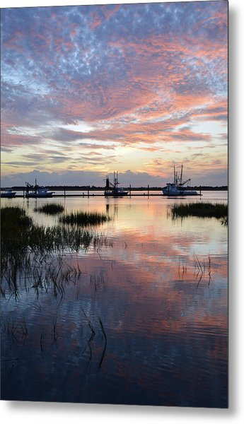 Sunset On Jekyll Island With Docked Boats Metal Print