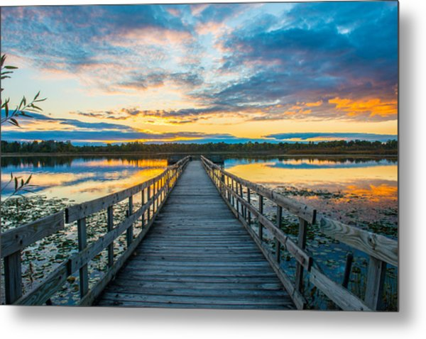 Sunset On Lake Sixteen Metal Print