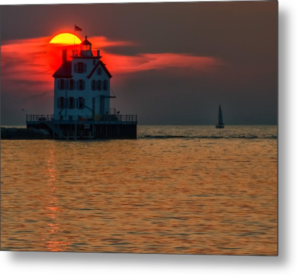 Sunset On Lighthouse Metal Print