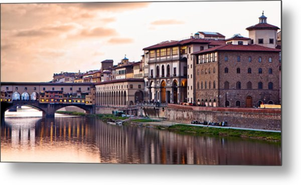 Sunset On Ponte Vecchio In Florence Metal Print