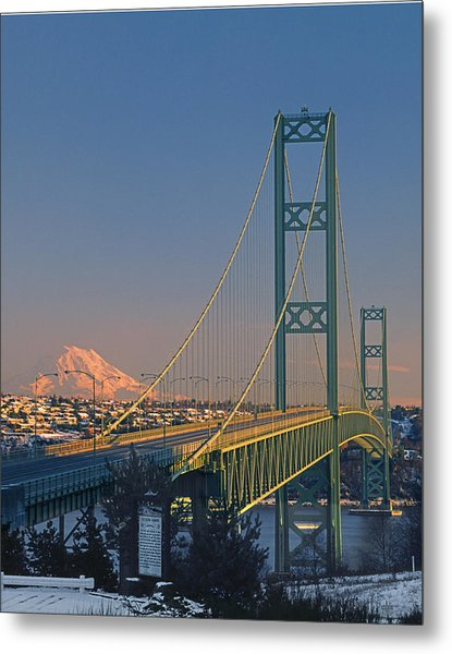 1a4y20-v-sunset On Rainier With The Tacoma Narrows Bridge Metal Print