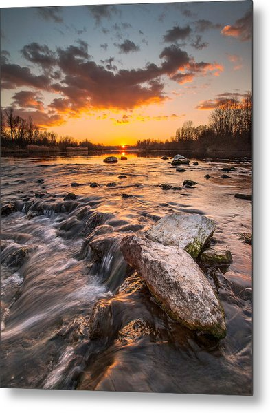 Sunset On River Metal Print