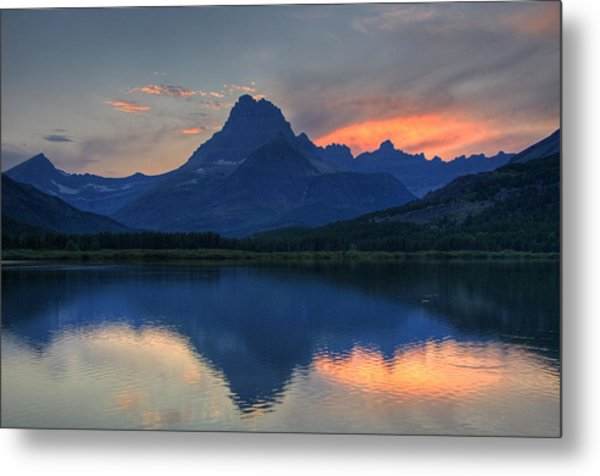 Sunset On Swiftcurrent Lake Metal Print