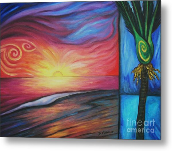 Sunset On The Beach And Nikau Palm Metal Print