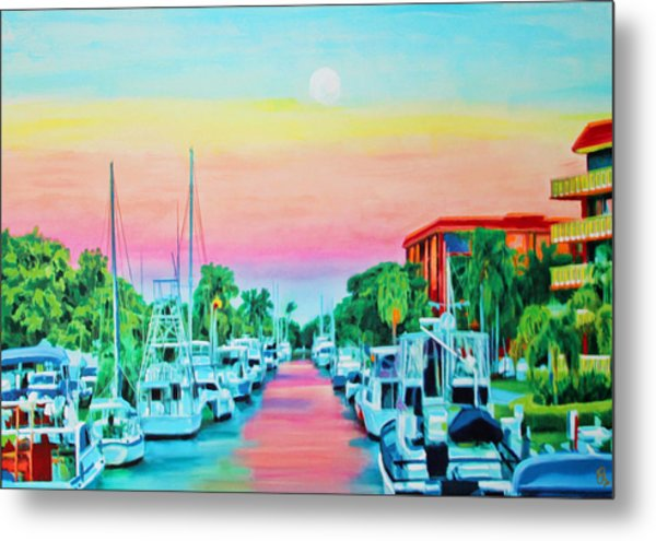 Sunset On The Canal Metal Print
