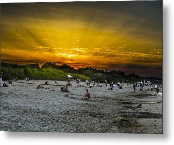 Sunset On The Crowded Beach Metal Print by Adam Budziarek