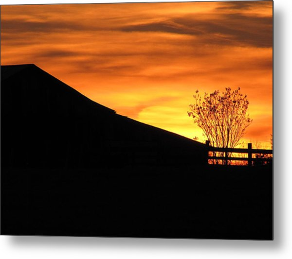 Sunset On The Farm Metal Print