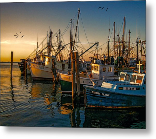 Sunset On The Fleet Metal Print