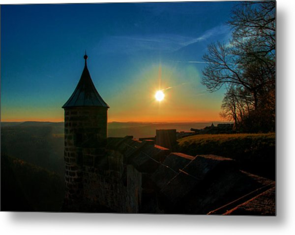 Sunset On The Fortress Koenigstein Metal Print