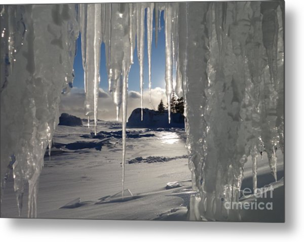 Sunset On The Icicles Metal Print