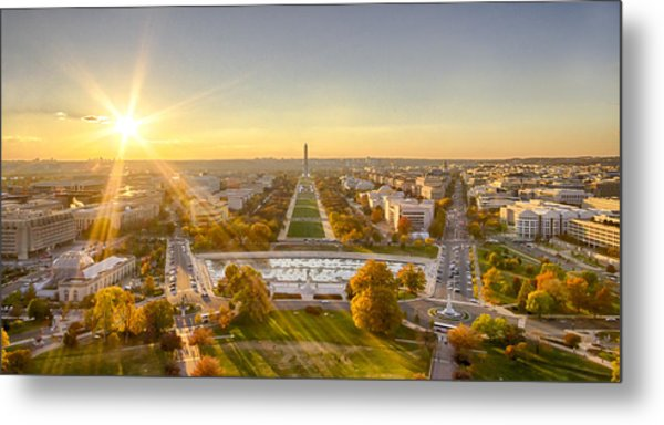 Sunset On The National Mall Metal Print