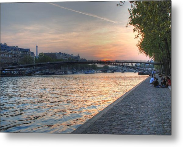 Sunset On The Seine Metal Print