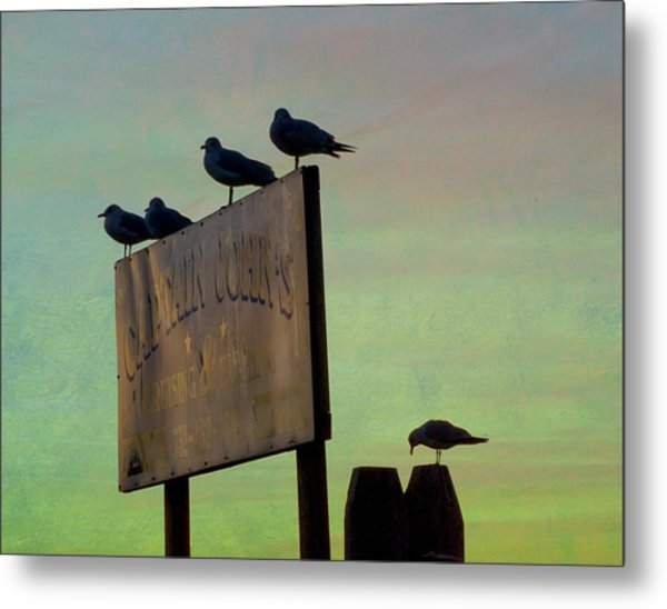 Sunset On The Sign Metal Print
