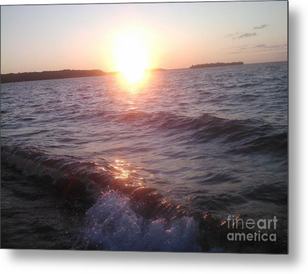 Sunset On Waves Metal Print