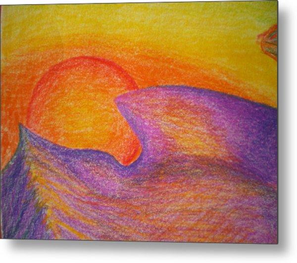 Sunset On Wavy Mountains Detail Of Sun Metal Print