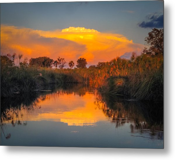 Sunset Over Camp Sandibe Metal Print