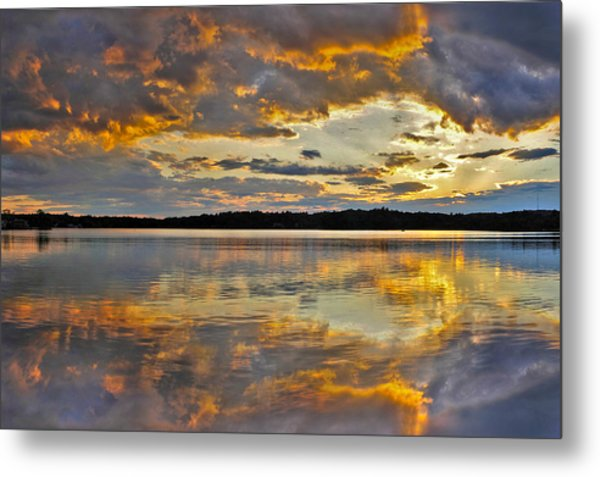 Sunset Over Canobie Lake Metal Print